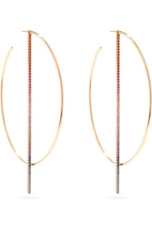 Diane Kordas Women Earrings - Rainbow Sapphire & 18kt Rose-gold Hoop Earrings - Womens - Multi
