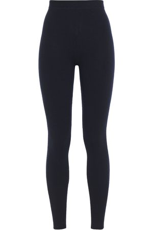 N.PEAL Woman Cashmere And Silk-blend Leggings Navy Size L
