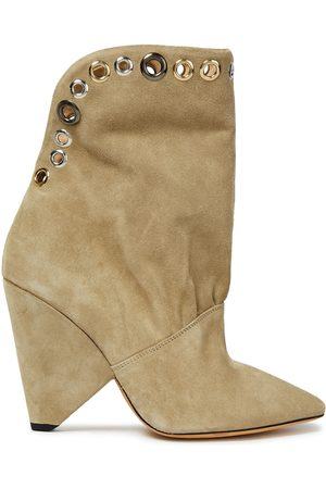 IRO Woman Sudeka Eyelet-embellished Suede Ankle Boots Sand Size 36