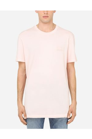 Dolce & Gabbana Collection - COTTON T-SHIRT WITH BRANDED PLATE male 42