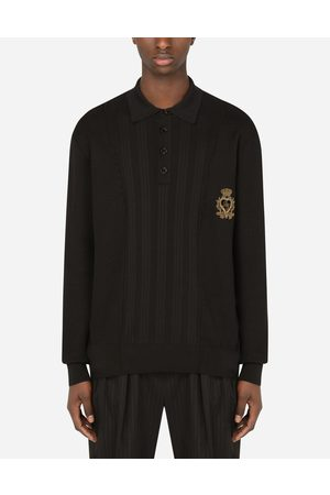Dolce & Gabbana Men Polo Shirts - Collection - MIXED KNIT POLO-STYLE SWEATSHIRT WITH PATCH male L