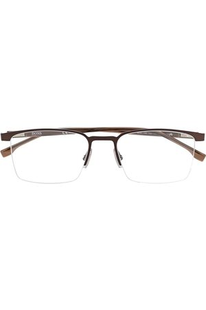 HUGO BOSS Half-rim square-frame glasses - Metallic