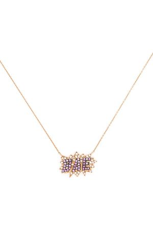 Diane Kordas 18kt rose gold diamond pop art necklace