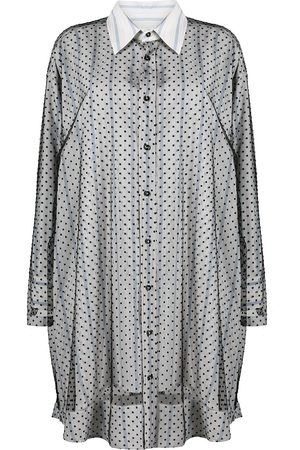 Maison Margiela Sheer-lace overlay shirt dress
