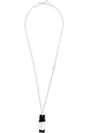 Coup De Coeur Agate stone long pendant - Metallic