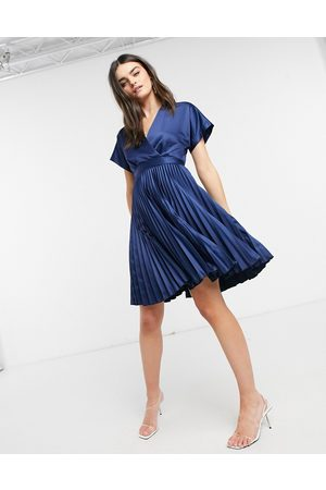 Closet Wrap front pleated midi skater dress in