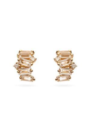 Suzanne Kalan Diamond & White Topaz 14kt Hoop Earrings - Womens