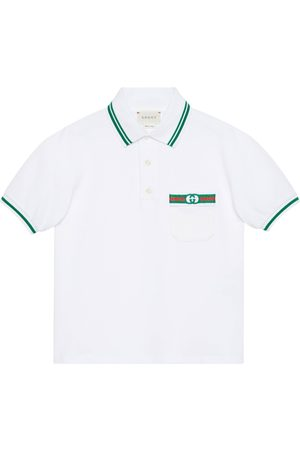 Gucci Boys Polo Shirts - Children's cotton polo with Web and Interlocking G