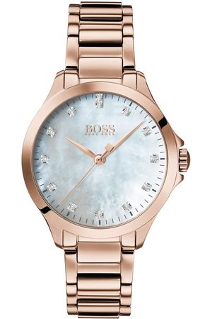 HUGO BOSS White Dial With 13 Diamonds And Carnation Gold Stainless Steel Bracelet Ladies Watch