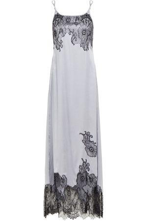 MYLA Woman Pansy Gardens Chantilly Lace-trimmed Stretch-silk Satin Nightdress Stone Size M