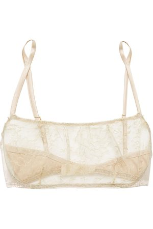 MYLA Woman Darling Row Silk-blend Leavers Lace And Satin Soft-cup Bra Neutral Size L