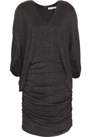 Halston Heritage Woman Cape-effect Ruched Metallic Jersey Mini Dress Size 0
