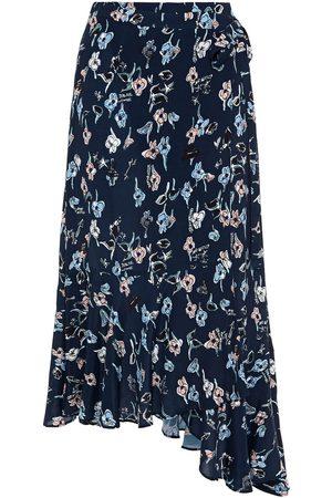 Markus Lupfer Woman Caroline Asymmetric Printed Crepe Midi Wrap Skirt Midnight Size 14