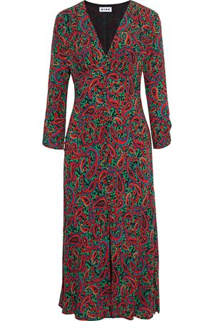 RIXO London Woman Katie Gathered Printed Crepe Midi Dress Size L