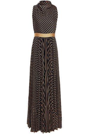 Missoni Woman Pleated Metallic Striped Crochet-knit Maxi Dress Navy Size 40