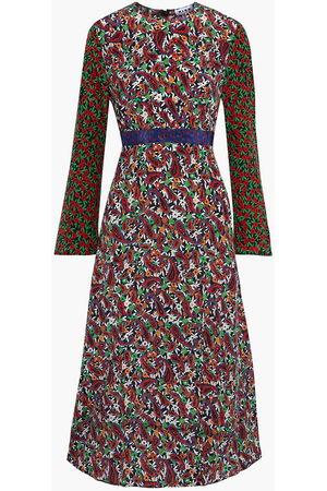 RIXO London Woman Trisha Paneled Printed Silk Crepe De Chine Midi Dress Multicolor Size XS