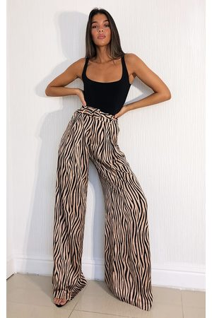 PRETTYLITTLETHING Stone Zebra Print Belted Extreme Wide Leg Trousers