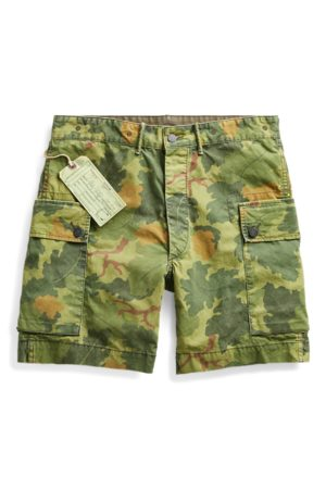 RRL Men Swim Shorts - Camo Cotton Poplin Cargo Short