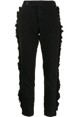 Comme des Garçons Ruffled strips slim-fit trousers