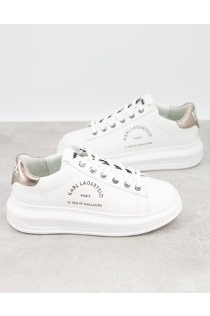 Karl Lagerfeld Trainers - Maison leather platform sole trainers in with silver black tab