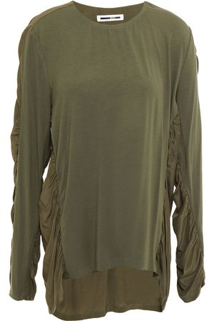 McQ Women Tops - Woman Paneled Ruched Crepon And Jersey Top Army Size L