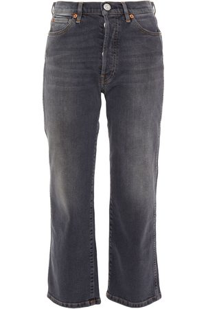 3x1 Women Straight - Woman Cropped Faded High-rise Straight-leg Jeans Dark Gray Size 23