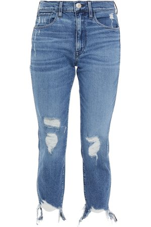 3x1 Women Straight - Woman Cropped Distressed Mid-rise Straight-leg Jeans Mid Denim Size 24