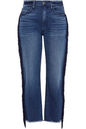 3x1 Woman W3 Higher Ground Fringed High-rise Straight-leg Jeans Mid Denim Size 28