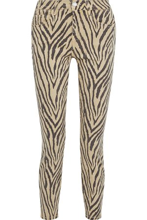 Current/Elliott Women Skinny - Woman The High Waist Ankle Tiger-print High-rise Skinny Jeans Size 24