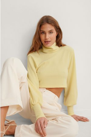 NA-KD Women Crop Tops - Recycled Heavy Jersey Cropped Top - Yellow