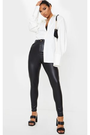 PRETTYLITTLETHING Button Up PU Skinny Trousers