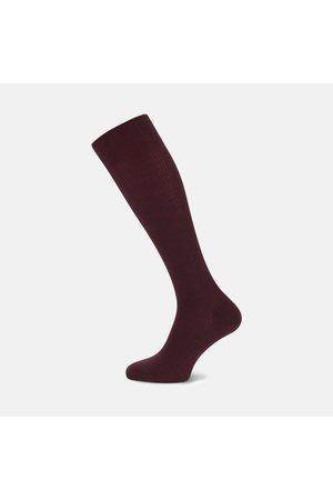 Turnbull & Asser Maroon Long Merino Wool Socks