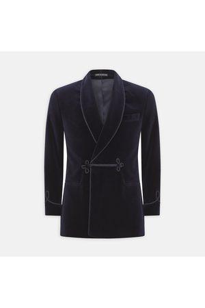 Turnbull & Asser Navy Double Breasted Velvet Smoking Jacket