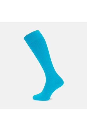 Turnbull & Asser Turquoise Long Cotton Socks