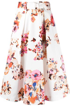 Msgm Women Printed Skirts - Floral print belted full skirt