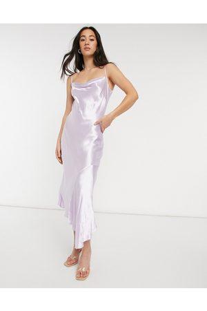 Closet Cowl neck asymmetric satin midi dress in lilac