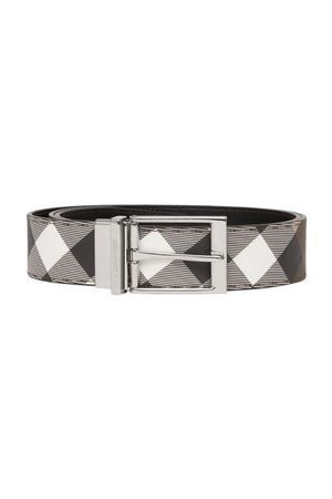 Burberry Men Belts - Reversible Check E-canvas And Leather Belt