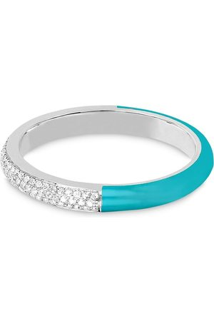 EF Collection 14kt gold diamond and turquoise enamel band ring