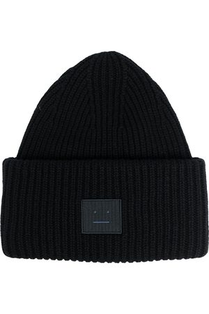 Acne Studios Face patch ribbed beanie
