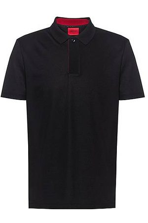 HUGO BOSS Cotton-blend polo shirt with covered placket