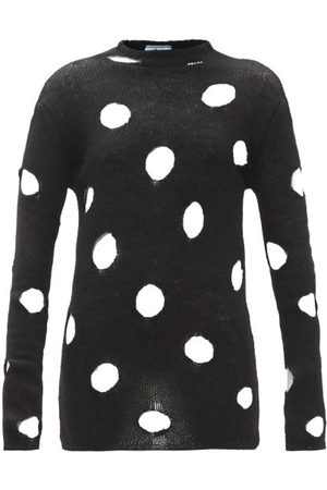 Prada Distressed Open-weave Wool Sweater - Womens