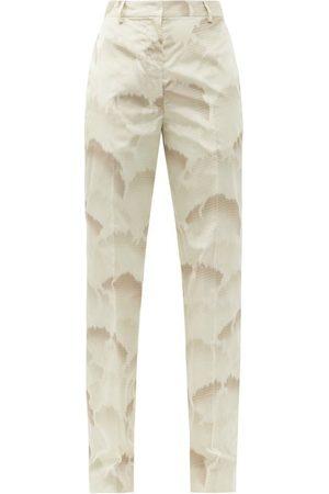 Prada Cloud-print Silk Crepe De Chine Trousers - Womens