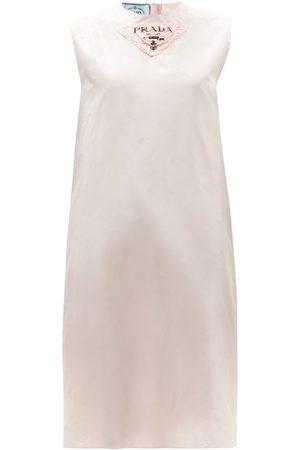 Prada Triangle-logo Plaque Silk-taffeta Shift Dress - Womens