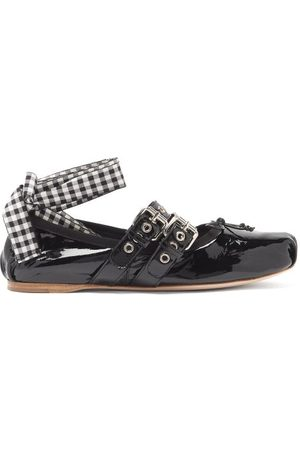 Miu Miu Ribbon-strap Buckled Patent-leather Ballet Flats - Womens