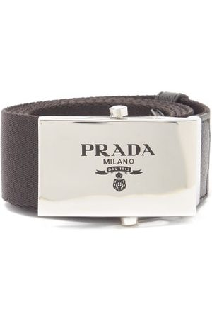 Prada Logo-engraved Leather-trimmed Canvas Belt - Mens