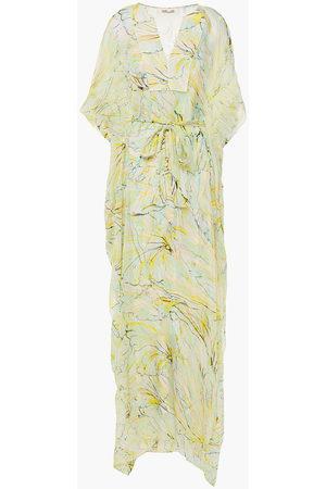 Diane von Furstenberg Women Printed Dresses - Woman Belted Printed Silk-georgette Kaftan Ivory Size L