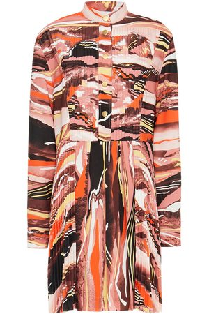 CÉDRIC CHARLIER Women Printed Dresses - Woman Pleated Printed Crepe Mini Dress Antique Rose Size 40