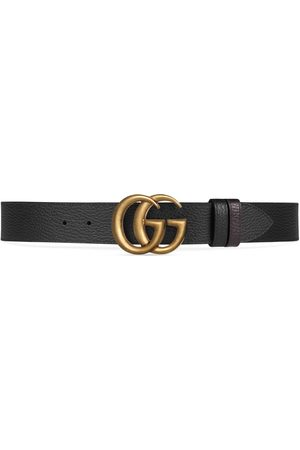 Gucci Men Belts - Reversible leather belt with Double G buckle