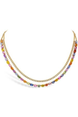 Pragnell 18kt rose gold Rainbow Fancy sapphire and diamond two-row necklace