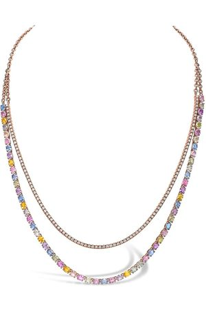Pragnell Women Necklaces - 18kt rose gold Rainbow Fancy sapphire and diamond two-row necklace